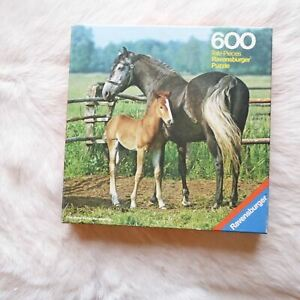 Ravensburger MARE WITH HER FOAL 1975 Jigsaw Puzzle 600 Piece Animals HORSE RARE