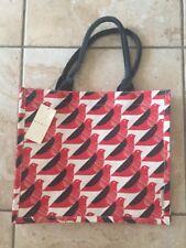 Orla Kiely Black Cream Red Bird Birds Print Jute Shopping Bag UK