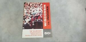 Wisconsin Badgers vs Indiana 1962 College Football Program  W Club Day