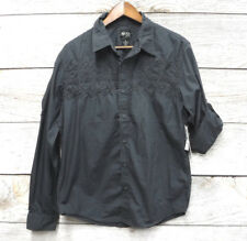 Black Jack Mens Size Medium Gray Embroidered Button Down Shirt New