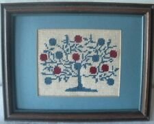 "Needlepoint Wall Hanging Picture Matted Framed Fruite Tree 9.25"" x 7.25"""