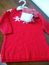 Baby Red Dress, White Snowmen & White Tights, 3-6 Months, M&S, BNWT  £15