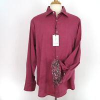 Robert Graham Mens Hess Button Front Shirt 2XL XXL Red Long Sleeve Classic Fit