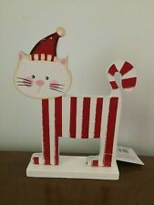 WOODEN CHRISTMAS STRIPY CAT STANDING ORNAMENT by HEAVEN SENDS