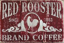 """Coffee Red Rooster"" Metal Decor Art Kitchen Store Bar 12"" x 8"" Aluminum Sign"