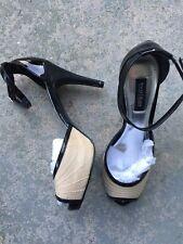 "White House Black Market Size 6.5M ""Giorgio"" Heels Open Peep Toe Shoes Black/Tan"