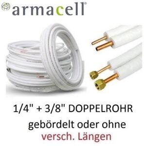 """Kältemittelleitung Armacell 1/4""""+3/8"""" Kupfer isoliert Kupferrohr Überwurfmuttern"""