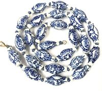 VINTAGE Chinese 9ct Gold Hand Knotted Blue White Ceramic Lantern Bead Necklace