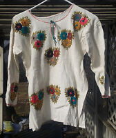 Maya Mexican Blouse Top Shirt Embroidered Flowers Chiapas White Medium