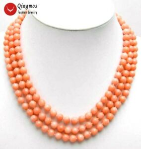 """6-7mm Round Natural Pink Coral Necklace for Women 3 Strands Chokers 17"""" Jewelry"""