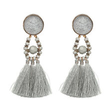 ZARA GREY ELEGANT BEAD TASSEL STUD EARRINGS