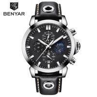 BENYAR Moon Phase Waterproof Leather Band Men's Chronograph Sports Quartz Watch