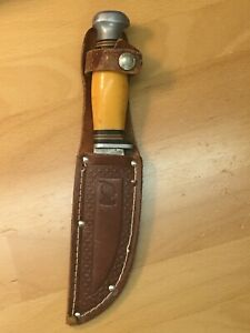 Cattaraugus Vintage Skinning Knife with leather sheath And Indian Inspection