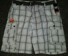 NWT MSRP $58 Lee Dungarees Mens Cargo Shorts Alloy Oak Plaid Cell Pocket Belt 42