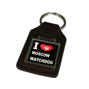 I Love My Dog Engraved Leather Keyring Moscow Watch