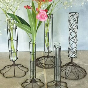 Wire Cage Bud Vase, Rusty Rustic Filigree Test Tube Flower Stem Bottle Wedding