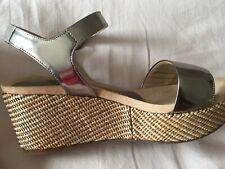 Silver Metallic Leather Platform Wedge Sandals Brand New Sz 38