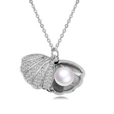 Fashion Shell Pearl Tiny Crystal Openable Shinny Pendant Necklace Party Jewelry
