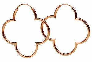SILBERMOOS Damen Ohrringe Creolen Kleeblatt rosé-vergoldet 925 Sterling Silber
