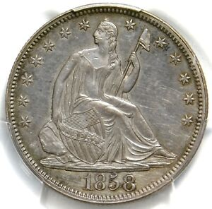 🥶🔥💙💙💙PCGS AU55 1858 SEATED HALF DOLLAR
