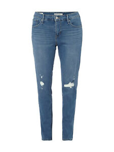 Levis 311 Premium Shaping Skinny Fit Jeans Plus Size Blue Ripped Distressed W42