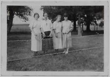Old Photo Women Holding Tennis Racquets And Ball By Net On Lawn Dresses 1920S