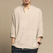 Men Loose Style V-Neck Long Sleeve Cotton Casual Shirt Collar Linen T-shirt