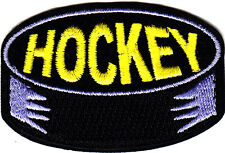 """HOCKEY"" PUCK - Iron On Embroidered Applique Patch - Sports, Player, Games"
