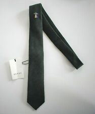 New Authentic GUCCI UFO UNDERKNOT Green WOOL BLEND Woven Narrow Neck Tie
