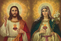 Catholic Print Picture SACRED HEART of JESUS + IMMACULATE HEART of MARY 8x10""