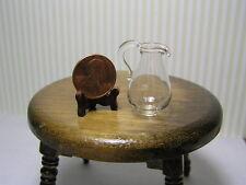 Miniature Dollhouse Tall Clear Glass Pitcher  1055