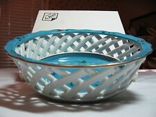 Japanese Arita Yaki Porcelan Lattice Bowl: Gold Rim, Flower Design, Original Box
