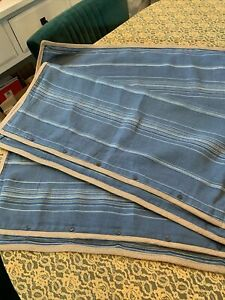 """2 RALPH LAUREN Blue """"Landing Stripe"""" 100% Linen Euro Pillow Shams/Covers 26X26"""