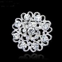 Silver Tone Heart And Flower Rhinestone Diamante Crystal Pin Brooch Wedding Jewe