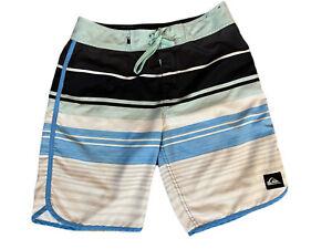Quiksilver Mens Swim Shorts, Trunks , Board , Green/ Blue Striped Logo SZ 30