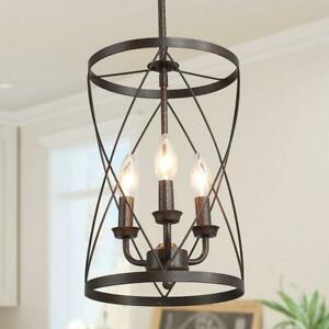 LNC Onawa Drum Chandelier 3-Light Rust Bronze Farmhouse Cage Pendant Light