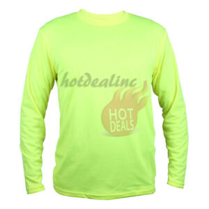 Work Safety High Visibility Plain T-shirt Green/Orange Sports Short/Long Sleeve