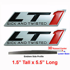 (2) Chrome LT1 Emblems Fits GM Car Dash Fender Trunk - Sick and Twisted - RED