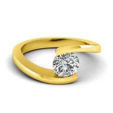 1.25CT Forever One VVS2 Moissanite Modern Solitaire Ring 14K Yellow Gold
