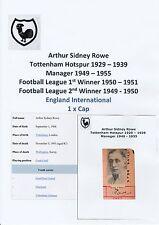 ARTHUR ROWE TOTTENHAM HOTSPUR 1929-1939 & MGR VERY RARE ORIGINAL SIGNED CUTTING