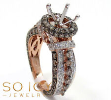 2.26ct Ladies 14k Rose Gold Natural Champagne Diamond Semi Mount Engagement Ring