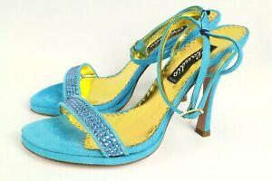 Claudio Milano Francesco Saco Womens Blue Shoes Suede Crystal Size 36 Italy #50