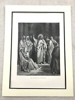 1870 Original Victorian Print Jesus Christ Preaching in the Synagogue Antique