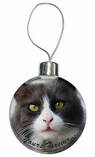 Black and White Cat 'Yours Forever' Christmas Tree Bauble Decoration G, AC-80yCB