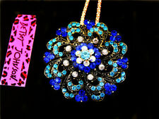 Betsey Johnson Beautiful blue crystal flower Pendant Necklace Sweater Chain