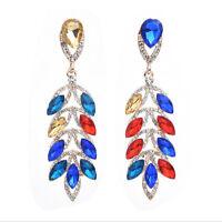 Elegant Fashion Women Lady Rhinestone Crystal Ear Stud Earrings Dangle Jewelry
