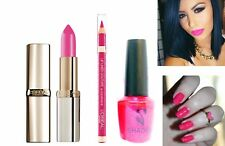 Loreal 3pc Bright Pink Trio Set Nail Varnish & Matte Lipstick & Loreal Lipliner