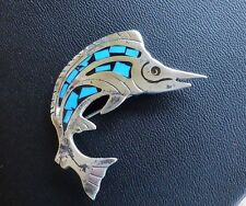 Vintage sterling turq inlaid Mexico Swordfish Sail Fish Pin Brooch 10.5 grams