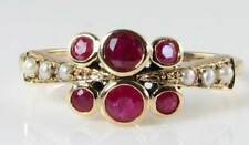 DIVINE 9K 9CT GOLD ART DECO INS INDIAN RUBY & PEARL RING FREE RESIZE