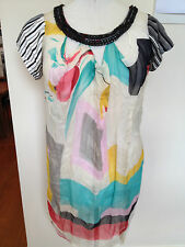 BRACEWELL Multicolour Floral Print Chain Link Looped Neckline Tunic Dress 10